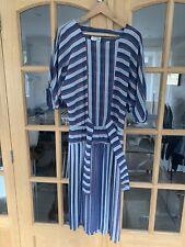 Vintage Tea Dress Striped Ditsy Blue Red White Medium Pleats Pleated Batwing
