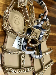 ASH Sandals Patchouli Gold Stud Silk Leather Strappy Style Size 8 NEW WITH TAGS!