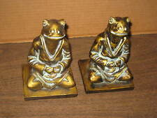 2 GOLD SOLID RESIN MEDITATING FROGS BOOK ENDS