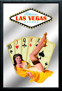 Las Vegas Pin Up Motiv 1 Nostalgie Barspiegel Spiegel Bar Mirror 22 x 32 cm