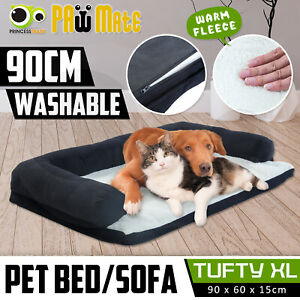 Pet Couch Dog Cat Sofa Bed Bolster Soft Suede Warm Cushion Fleece Deluxe XL BK
