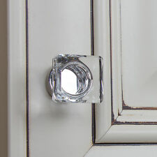 "900025-BBN- GlideRite Hardware 1"" Square Glass Brushed Black Nickel Cabinet Knob"