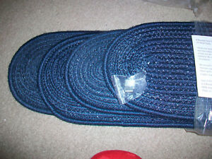 """Set of 4 Braided Stair Treads Navy Color Oval 28 1/2"""" Non Skid Backing"""