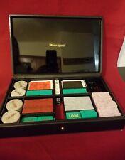 RENZO ROMAGNOLI Poker Set  Embossed Black Leather Carry Case  Italy
