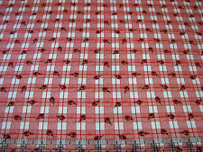 3 Yards Quilt Cotton Fabric- Henry Glass Strawberry Bears Ladybugs Plaid Pink