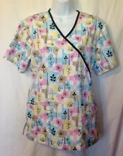 SB Scrubs Ladies Scrub Top Size S Pastels Flowers Nurse CNA Tech EUC