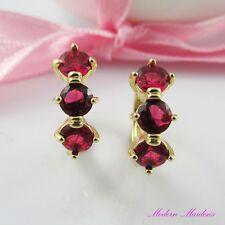 18k Gold GF Huggie Hoop Earrings with 3 Rose Cubic Zirconia