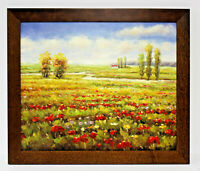 Red Poppies Fields Landscape 20 x 24 Art Oil Painting on Canvas w/Custom Frame