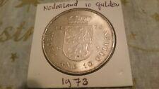 Netherlands 1973 silver 10 Gulden Juliana 1948 4 September 1973 coin.