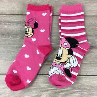Official Disney Minnie Junior Girl Crew Socks 2 Pair UK C13 - 3.5  R341-20