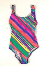 Talbots Womens Striped One Piece Swim Suit Size 12 Multi Color Vintage Padded