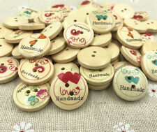 50pcs DIY Round Buttons Wooden Love printing Sewing Crafts Scrapbooking
