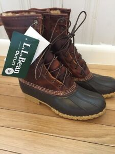 """LL Bean Signature 10"""" Shearling lined Tumbled Leather Womens Boots Size 6"""