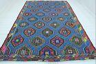 "Vintage Turkish Kilim, Oushak Rug, Star Design Rug, Large Rugs, Carpet 84""x121"""