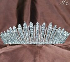 Fantastic Tiara Diadem Wedding Bride Crown Clear Rhinestones Pageant Prom Party