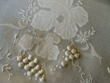 """WOW Vintage Linen Organdy Runner 42"""" Raised Grapes Hand Embroidered UNUSED"""