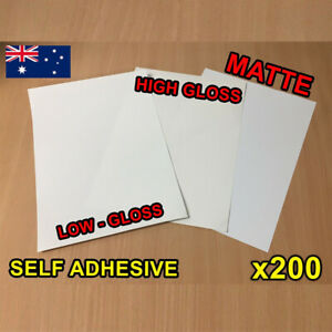 x200 Matte / Glossy A4 Self Adhesive Print Sticker Paper Sheet Laser Inkjet
