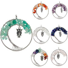 Tree Of Life 7pcs Lots Mystical Amethyst Agate Gems Silver Owl Necklace Pendants