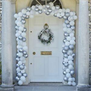 Silver Chrome Christmas Door Balloon Arch   Festive Garland Decorations x240