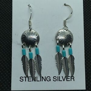 Medicine Shield Earrings With Turquoise & Feathers (Sterling Silver)