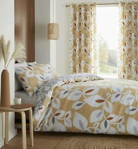 Inga Leaf Scandi Easy Care Duvet Cover Set on Gold & Grey by Catherine Lansfield
