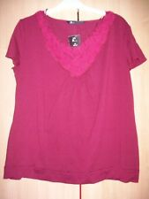 NEW DARK RED V NECK TOP SIZE 20 BHS BNWT