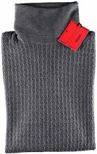 NWT ISAIA wool cashmere SWEATER dolcevita turtleneck cable grey luxury M SLIM