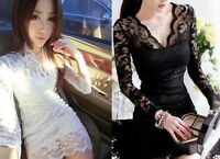 Elegant Womens Sexy V-neck Pencil Fit Mini Slim Lace Dress Cocktail Casual Party