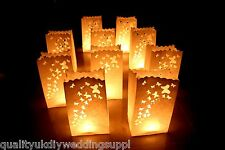 10 x Butterfly Design White Paper Candle Lantern Party Bags London Stock