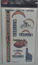 NFL SAN DIEGO CHARGERS TEMPORARY TATTOOS 1 SHEET 7 TATTOOS FAST FREE SHIPPING