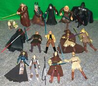 Star Wars JEDI + SITH Action Figure Lot x15 - Mace Windu Rey Sidious Maul - Used