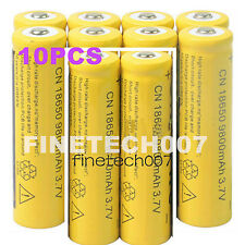 10 Pcs 18650 3.7V 9800mAh Yellow Li-ion Rechargeable Battery Cell For Torch MC