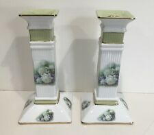 Porcelain Treasures Rose Candlesticks painted by Betty Platter, signed