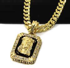 Collar Para Hombre De Oro 14k Plated Black Ruby Jesus Face Cadena Cubana Hip Hop