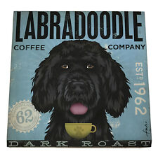 Black Labradoodle Wrapped Canvas Panel - Coffee House Dog Print