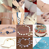 Fashion Simple Style Women Crystal Rhinestone Chain Bangle Bracelet Jewelry