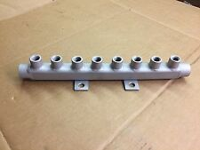 STAINLESS STEEL WATER MANIFOLD - TWO 1/2  NPT CONNECTS WITH EIGHT 1/4  NPT PORTS