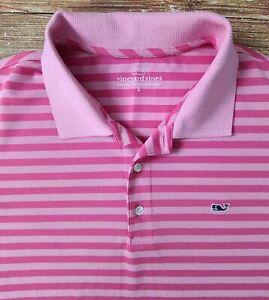 Vineyard Vines Men's Performance Golf Polo Shirt Mens Sz Large Pink Striped