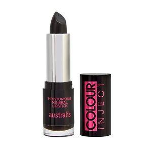 Australis Colour Inject BLACK Lipstick Vegan Moisturising #Indie Rock FREE SHIP