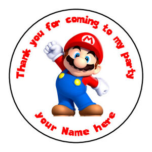 Unofficial Mario Luigi Personalised Birthday Stickers Thank You For Coming Party