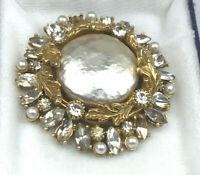 Art Pin Haskell Look Baroque Pearl & Crystal Rhinestone Leaf Round Goldtone