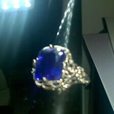 BLUE SAPPHIRE DIAMANTE LARGE EMERALD CUT SOLITAIRE RING SIZE N