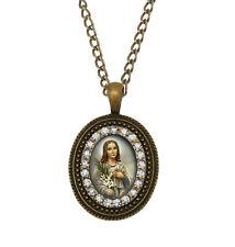 St Maria Goretti Bronze Necklace Catholic Pendant Medal Patron Chain Jewelry