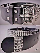 Pequeño Negro Cinturón de cuero para hombre señoras Tachonado pirámide postes 5 la fila 28-32 cónico