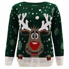 Women Christmas T-shirt Xmas Loose Raglan Reindeer Long Sleeve Tee Top Blouse NA