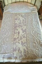 Antique French figural lace bed cover, cherubs, fine lawn, white work embroidery