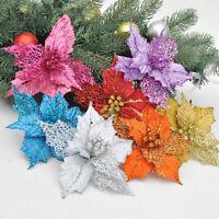 16cm Christmas Party Flower Poinsettia Glitter Gold Bow Clip On Decor Xmas Tree
