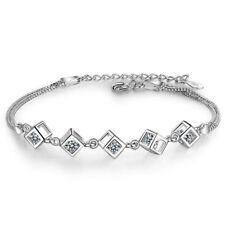 Women Lady Fashion Solid 925 Sterling Silver Zircon LOVE BOX Chain Bracelet