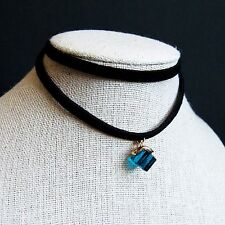 Modern Trendy Blue Glass Cube Double Suede Layers Choker Necklace