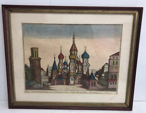 Antique 1770s Optical Print Etching Of Moscow St. Basil Russia Signed Carmien